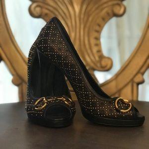 Gucci Studded Peep Toe Heels